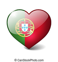 Portugal 3d glass heart with realistic shadow isolated on...