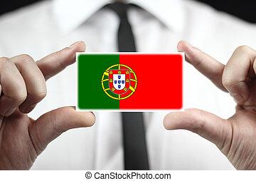 portugal, affär, flagga, holdingen, affärsman, kort