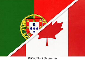 Portugal and Canada, symbol of national flags from textile. Championship between two countries.