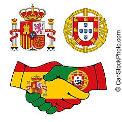 Portugal and Spain coat of arms, handshake