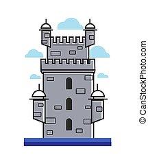 Portugal architectre vector Belem tower symbol - Portugal...