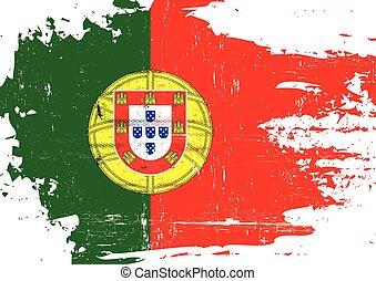 portugal, arranhado, bandeira