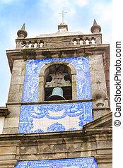 portugal, azulejo, église, porto, tour