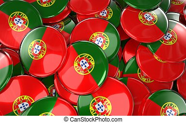 Portugal Badges Background - Pile of Portuguese Flag Buttons.