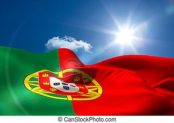 portugal, bandera nacional, debajo, soleado, cielo