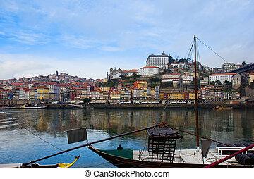 portugal, banque, porto, vieux, douro