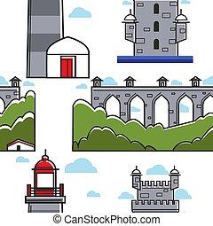 Portugal bridge and brick tower lighthouse seamless pattern
