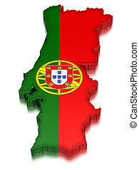 Portugal (clipping path included) - Map of Portugal. 3d...