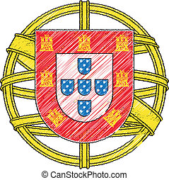 Portugal coat of arms, vector illustration