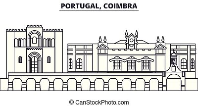 Portugal, Coimbra line skyline vector illustration. Portugal, Coimbra linear cityscape with famous landmarks, city sights, vector design landscape.