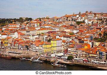 portugal, colline, porto, vieille ville, rivière, douro