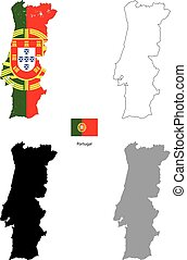Portugal country black silhouette and with flag on background