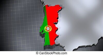Portugal - country borders and flag - 3D illustration