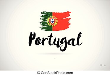 portugal country flag concept with grunge design icon logo