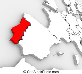 Portugal Country Map Abstract 3D Europe Atlas