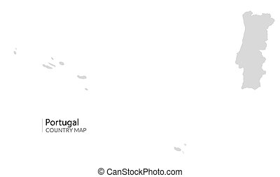 Portugal country map. Gray Portugal vector shape isolated icon.