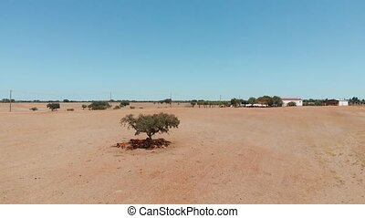 Portugal countryside, arid climate. Aerial view. - Aerial ...