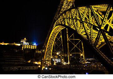 Portugal, night Porto, lights of night city, night panoramic view of The Eiffel Bridge, Ponte Dom Luis, Bridge Ponti Di Don Luis, Douro river, Eiffel bridge arch night landscape