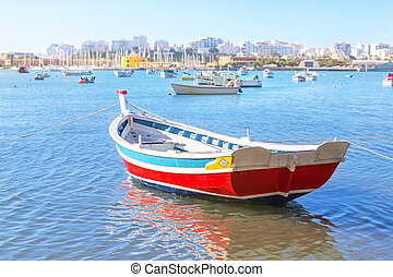 portugal., ferragudo, 海灣, 漁村, summer., 小船