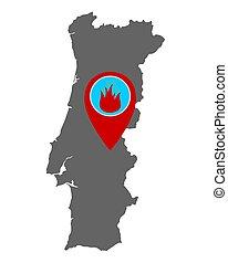 portugal, feuer, landkarte, warnung, stift