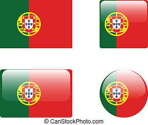 Portugal flag & buttons collection - vector