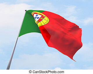 Portugal flag flying on clear sky.