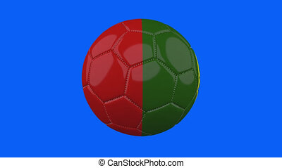 Portugal flag on ball rotates on transparent blue alpha background, loop