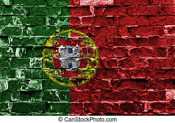 Portugal flag painted on brick wall