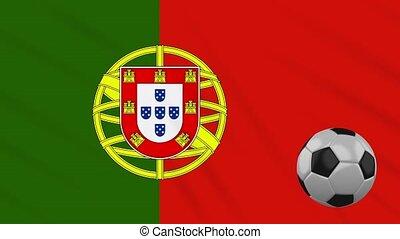 Portugal flag waving and football rotates, loop - Portugal...
