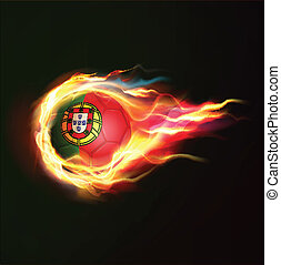 Portugal flag with flying soccer ball on fire isolated black background, vector illustration