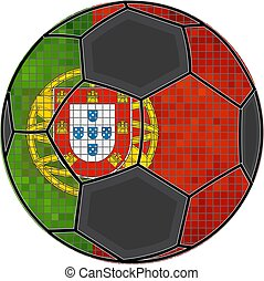 Portugal flag with soccer ball background