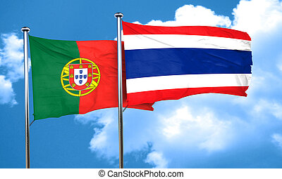 Portugal flag with Thailand flag, 3D rendering
