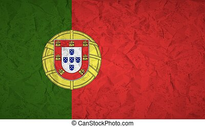 Portugal flag with the effect of crumpled paper and grunge