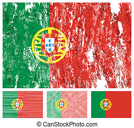 Portugal grunge flag set