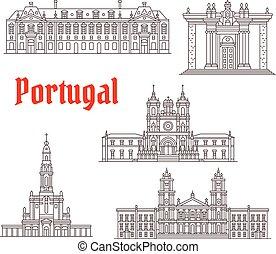 portugal, icônes, célèbre, vecteur, architecture, repère