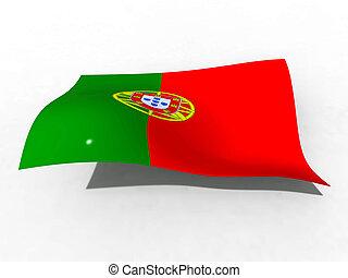 portugal, illustration, drapeau, vagues, vent, 3d