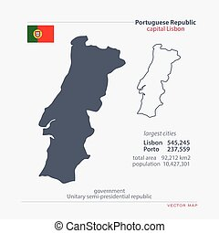 portugal - Portuguese Republic isolated maps and official...
