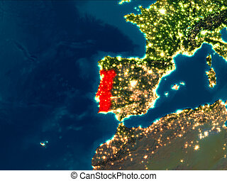 Portugal in red at night