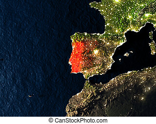 Portugal in red from space at night