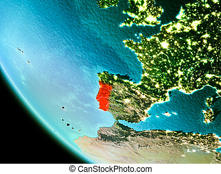 Portugal in red in the evening