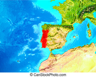Portugal in red on Earth