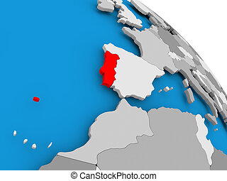 Portugal in red on map