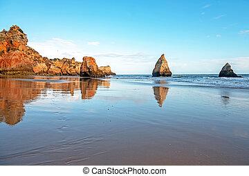portugal, irmaos, alvor, praia, algarve, tres
