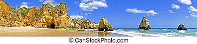 portugal, irmaos, panorama, alvor, océano, praia, tres,...