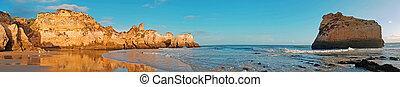 portugal, irmaos, panorama, alvor, praia, algarve, tres