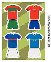 portugal, italia, fútbol, francia, jersey, españa