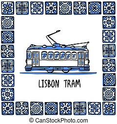 Portugal landmarks set. Lisbon retro tram. Traditional tramway in frame of Portuguese tiles, azulejo. Handdrawn sketch style vector illustration. Exellent for souvenirs, magnets, banner, post cards