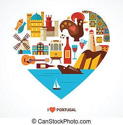 portugal, liefde, -, hart, met, vector, iconen