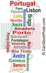 portugal map and words cloud with larger cities