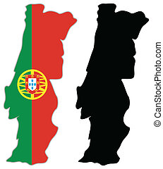 Portugal map flag on a white background. Vector illustrator.